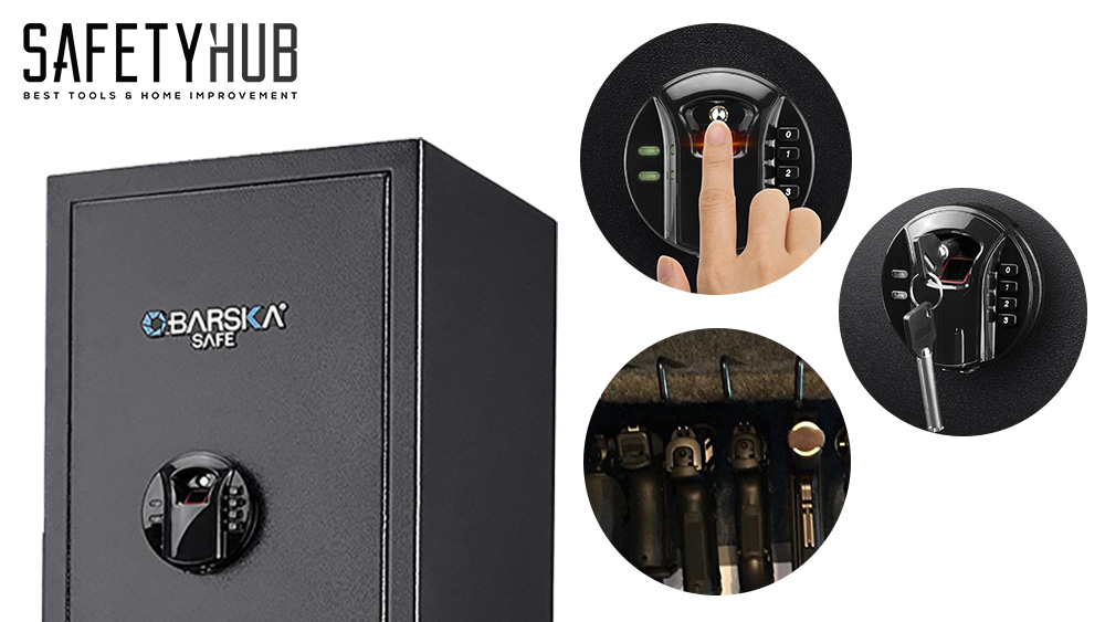 1. BARSKA New Large Quick Access Biometric Rifle Gun Safe Cabinet – Best Gun Safe For Small Spaces