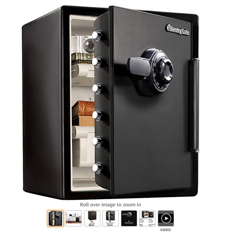 8 SentrySafe SFW205CWB Fireproof Safe and Waterproof Safe with Dial Combination 2.05 Cubic Feet