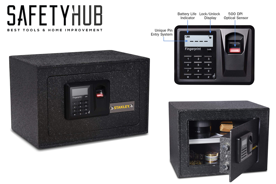 Stanley Solid Steel Biometric Personal Home Safe with Fast Access Fingerprint Recognition for Wall, Floor or Closet