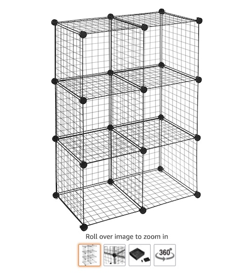 10 AmazonBasic 6 Cube Grid Wire Storage Shelves (check price) copy