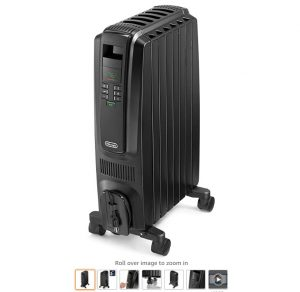2 De'Longhi Oil-Filled Radiator Space Heater, Quiet 1500W, Adjustable Thermostat, 3 Heat Settings, Timer, Energy Saving, Safety Features, Nice for Home with PetsKids, Black