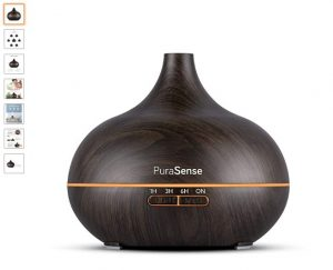 5 PuraSense Ultrasonic Aromatherapy Essential Oil Diffuser, 550ml Cool Mist Humidifier with Color LED Lights Changing and Waterless Auto Shut-off for Office Home Bedroom Liv