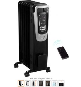 6 PELONIS Electric 1500W Oil Filled Radiator Heater with Safety Protection, LED Display, 3 Heat Settings and Five Temperature Settings. Perfect for for Home or Office