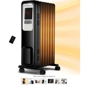 7 Aireplus Space Heater, 1500W Oil Filled Radiator Electric Heater with Digital Adjustable Thermostat, 24 Hrs Timer & Remote, Portable Oil Heater with Tip Over & Overheat Protection for Full Room Indoor