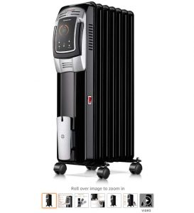 8 Homeleader 1500W Oil Heater, Full Room Space Heater with LED Display Screen, 24-Hour Timer and Remote Control, Electric Oil Filled Radiator Heater, Black