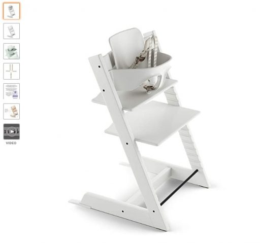 Best High Chair For Small Spaces 1 Stokke Tripp Trapp Adjustable Wooden White Baby High Chair (Includes Baby Seat with Harness)