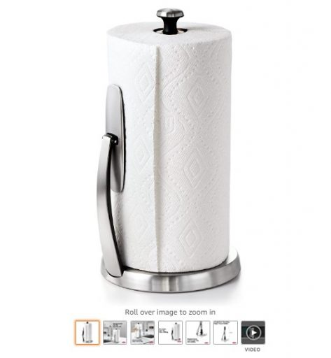 Best Paper Towel Holders 1 OXO Good Grips SimplyTear Standing Paper Towel Holder, Brushed Stainless Steel