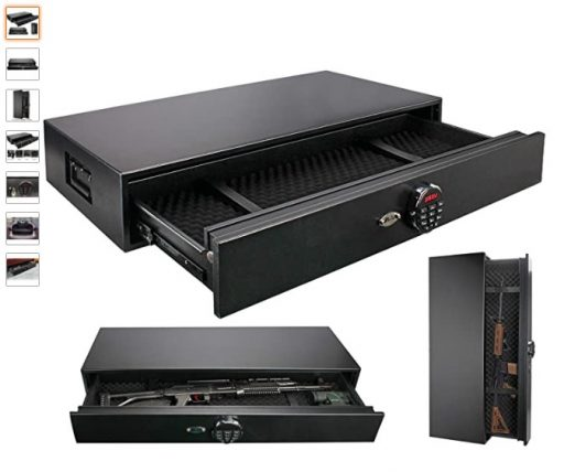 Best Underbed Gun Safes 9 Moutec Under Bed Safe, Rapid Gun Storage Safe Drawer Safe for AR Rifle Ammo Pistol Accessories for Home and Vehicle