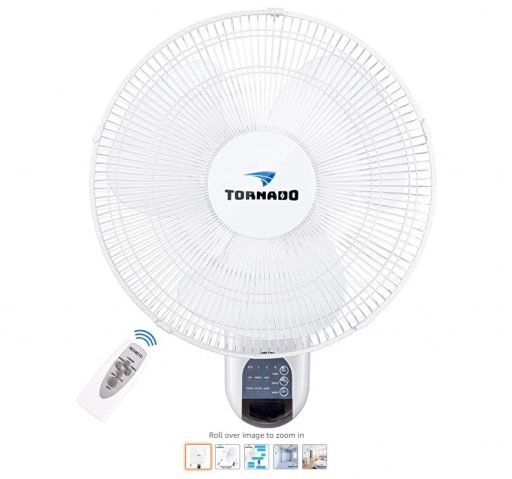 Best Wall Mount Fans 6 Tornado 16 Inch Digital Wall Mount Fan - Remote Control Included - 3 Speed Settings - 3 Oscillating Settings - 65 Inches Power Cord - UL Safety Listed