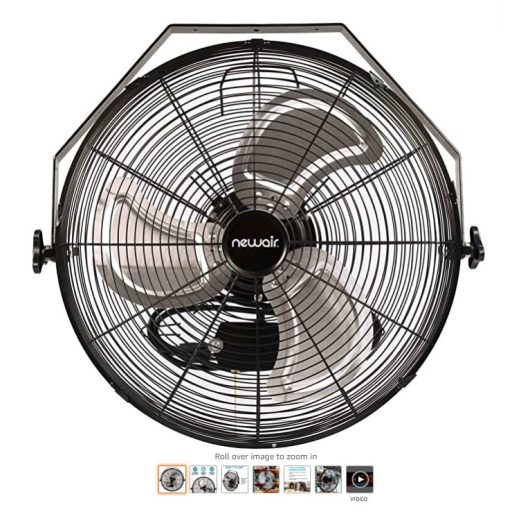 Best Wall Mount Fans 7 NewAir, WindPro18W, Wall Mounted 18 Inch High-Velocity Industrial Shop Fan with 3 Speed Settings, 3000 CFM,Black