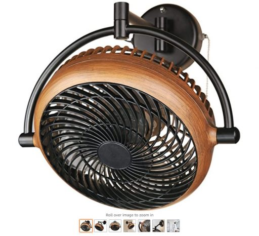 Best Wall Mount Fans 8 Industrial Wall Mount Fan 8 Inches Wall Mount Ceiling Fan with Pull Chain Control 2-Speed Adjustable Motor Direction, UL Listed, Black Walnut Finished