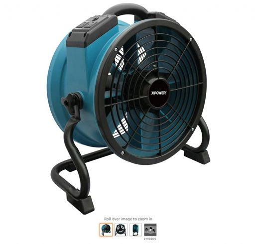best air movers 10 XPOWER X-34AR Variable Speed Sealed Motor Industrial Axial Air Mover, Blower, Fan with Built-in Power Outlets, Blue