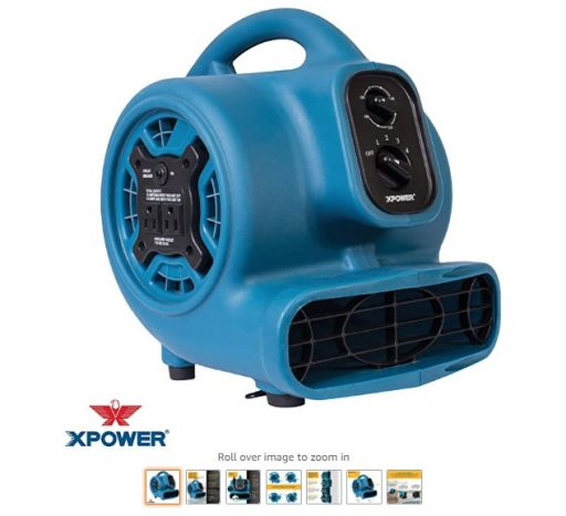 best air movers 2 XPOWER P-230AT Mini Mighty Air Mover Utility Blower Fan with Built-In Power Outlets, Blue