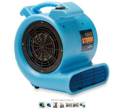 best air movers 3 Max Storm 1 2 HP Durable Lightweight Air Mover Carpet Dryer Blower Floor Fan for Pro Janitorial Cleaner, Blue