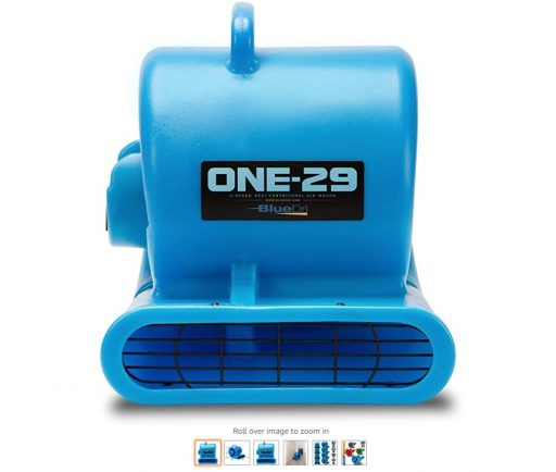 best air movers 5 BlueDri One-29 1 3 HP High Velocity Heavy Duty Portable Air Mover Floor Carpet Dryer Blower Fan for Water Damage Equipment Restoration, Blue