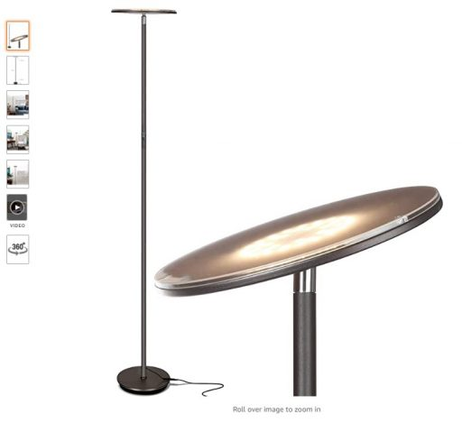 best floor lamps 1 Brightech Sky LED Torchiere Super Bright Floor Lamp - Contemporary, High Lumen Light for Living Rooms & Offices