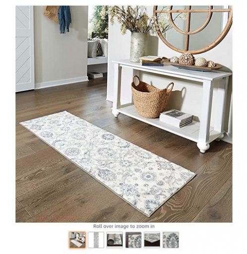 Best Rugs For High Traffic Areas 1 Maples Rugs Blooming Damask Non Slip Runner Rug For Hallway Entry Way Floor Carpet [Made in USA], 2 x 6, GreyBlue - Copy