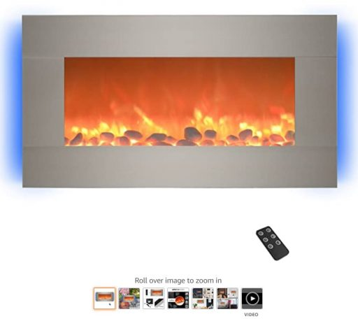 Best Wall Mounted Fireplace 10 Home lectric 13 (Brushed Silver) Electric Fireplace-Wall Mounted with 13 Backlight Colors