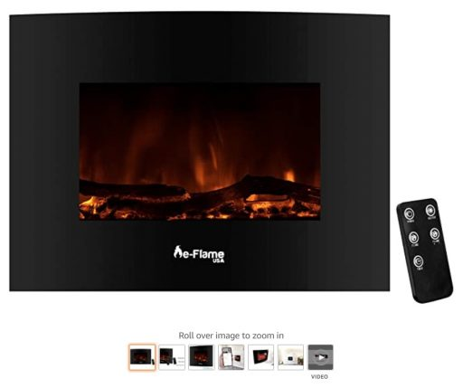Best Wall Mounted Fireplace 4 e-Flame USA Sundance Curved Wall Mounted or Freestanding Combo LED Electric Fireplace with Remote - 3D Log and Fire Effect