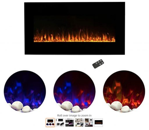 Best Wall Mounted Fireplace 5 Home Electric Fireplace Wall Mounted LED Fire and Ice Flame, with Remote 36 inch by Northwest