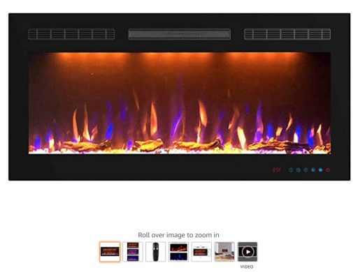 Best Wall Mounted Fireplace 8 Mystflame Electric Fireplace, In-Wall Recessed and Wall Mounted Fireplace Heater 1500 750W 36 Inch Wide slim frame Linear Fireplace with Log