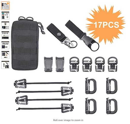 "best molle attactments 5 MGFLASHFORCE Kit of 17 Molle Attachments Molle Carabiner Clips and Straps for 1"" Webbing - Copy"