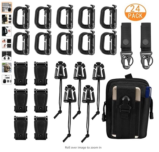 best molle attactments 7 XTUTU 24 Pieces Tactical Molle Attachments Tactical Bag Clip Strap Set, D-Ring Grimlock Locking Gear Clip, - Copy