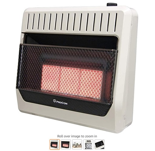 Best Gas Wall Heaters 7 ProCom MN3PHG Heating Natural Gas Ventless Infrared Plaque Heater, 30,000 BTU, Black - Copy
