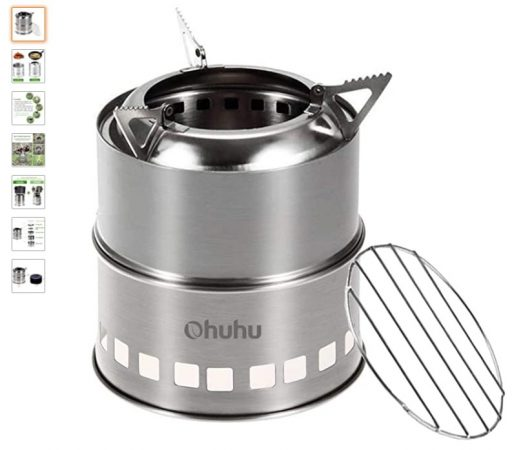 Best Wood Burning Camping Stoves 5 Ohuhu Camping Stove Stainless Steel Backpacking Stove Potable Wood Burning Stoves for Picnic BBQ Camp Hiking with Grill Grid