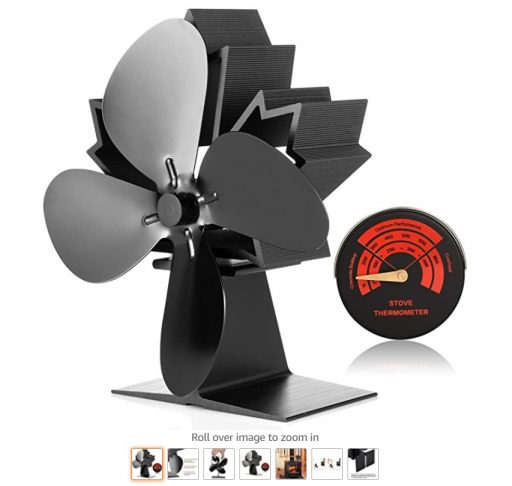 Best Wood Stove Fans 10 CWLAKON Wood Stove Fan-Silent Operation 4 Blades with Stove Thermometer for Wood