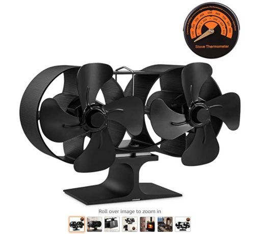 Best Wood Stove Fans 8 PYBBO Wood Stove Double Motors Fan, Small Size 8 Blades Fireplace Silent Heat Powered Eco Stove Fan