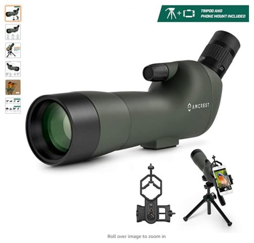 best spotting scopes 10 Amcrest Spotting Scope for Target Shooting w Tripod 20-60x60mm, Multi Coated Optical Lens
