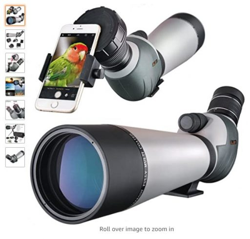 best spotting scopes 10 HD 20-60x80 Spotting Scope, Waterproof Dual Focusing Zoom BAK4 Fully Multi Coated