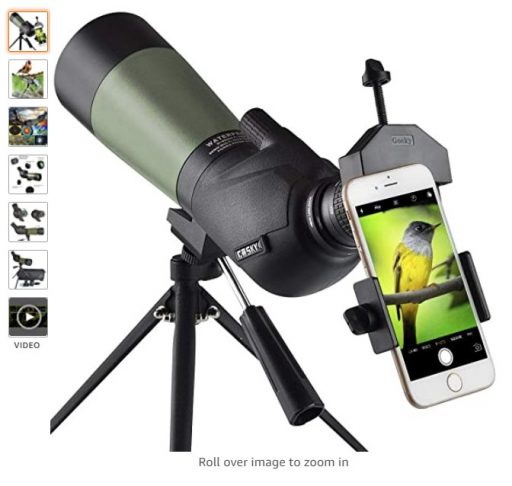 best spotting scopes 2 Gosky 20-60x60 HD Spotting Scope with Tripod, Carrying Bag and Scope Phone Adapter