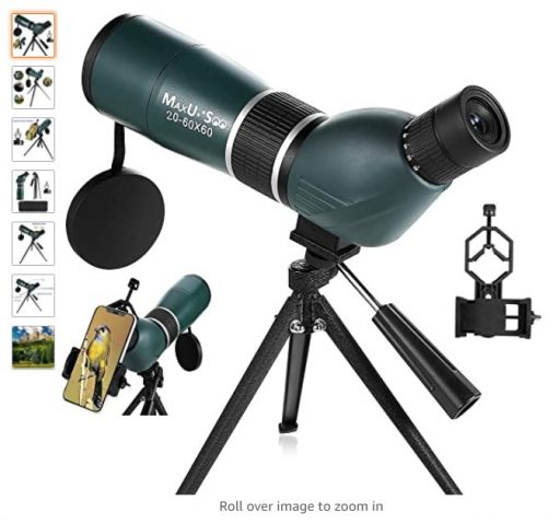best spotting scopes 7 MaxUSee 20-60x60 Zoom HD Spotting Scope with Tripod, Carrying Bag and Phone Adapter