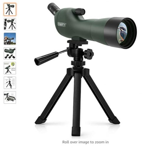 best spotting scopes 8 Emarth 20-60x60AE Waterproof Angled Spotting Scope with Tripod, 45-Degree Angled Eyepiece