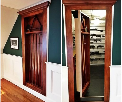 Gun safes usually rest on the corner of the room.